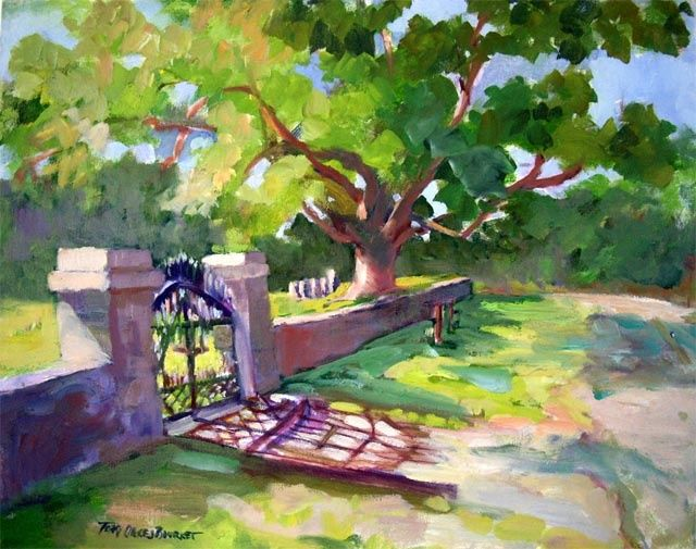 """Painting titled """"Haddam Cemetery Gate"""" by Don Bourret, Original Art, Oil"""