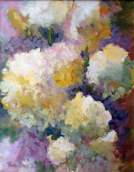 Floral Burst - Painting,  16x20 in ©2012 by Terry Oakes Bourret -            #659