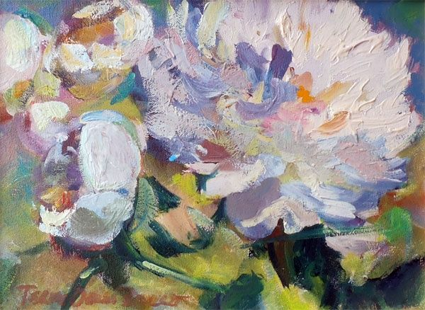 Peonies  #824 - Painting,  9x12 cm ©2012 by Terry Oakes Bourret -