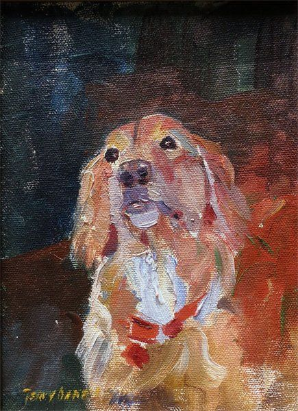 Toni - Painting,  6x8 in ©2012 by Terry Oakes Bourret -                            Figurative Art, Toni looking wistfully for a dog bone