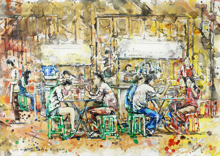 Late night diners, Bangkok - Painting,  29.9x40.9 in, ©2015 by gordonartist1 -                                                                                                                                                                                                                                                                                                                                                                                                                                                                                                                                                                                                                                                                                                                                                                                                                      Expressionism, expressionism-591, Food & Drink, painting, acrylic, social, people, dining, eating, Asia, food stall, gold, yellow, Bangkok, Thailand, expressionist, street food