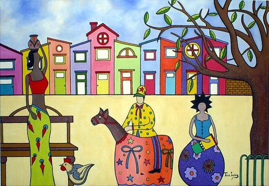 """NORDESTEANDO - Painting,  27.6x39.4x0.4 in, ©2008 by Thaís Gomez """"Arte Tropical"""" -"""
