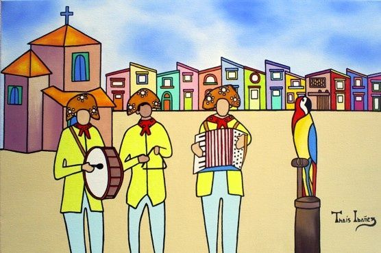 """Forrozeiros - Painting,  15.8x23.6x0.4 in, ©2009 by Thaís Gomez """"Arte Tropical"""" -                                                                                                                          Naive Art, naive-art-948"""