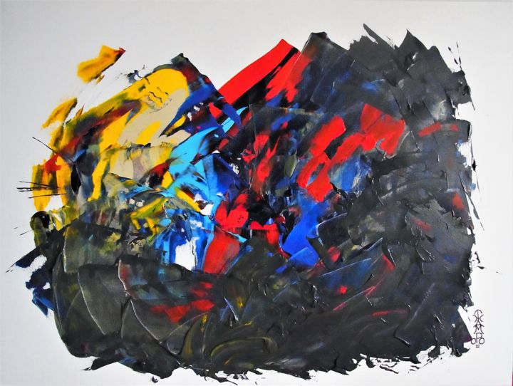 """Painting titled """"DISRUPTION"""" by Thampoo Jacob, Original Art, Acrylic Mounted on Cardboard"""