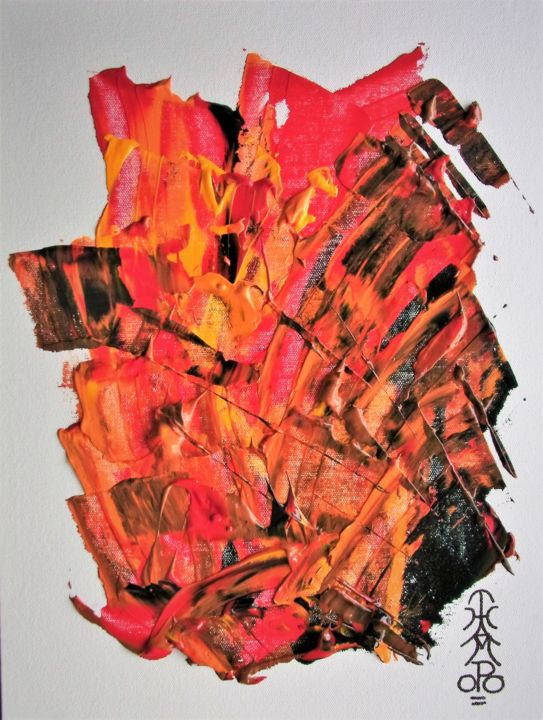 """Painting titled """"ANGER"""" by Thampoo Jacob, Original Art, Acrylic Mounted on Cardboard"""