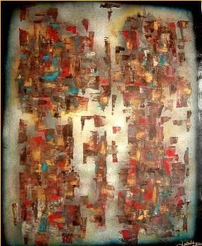 Partage - Painting,  39.4x31.9 in, ©2001 by Delaty -                                                                                                                          Abstract, abstract-570