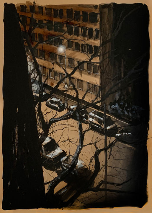 """Painting titled """"Carteret"""" by Pascal Fessler, Original Art, Ink Mounted on Other rigid panel"""