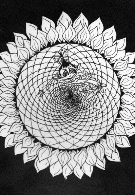 """Drawing titled """"sunflower pixi"""" by Gifts From The House Of Whimsy, Original Art, Other"""