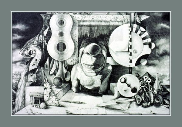 Pablo's Last Concert - Drawing,  18x24 in ©1984 by The Mystic Otto Rapp -                            Black and White, Surrealism, Fantastic Realism, Drawing, Graphite, Pencil