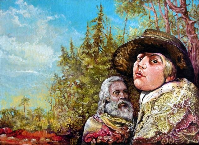 The Dauphin And Captain Nemo Discovering Bogomils Island - Painting ©2003 by The Mystic Otto Rapp -