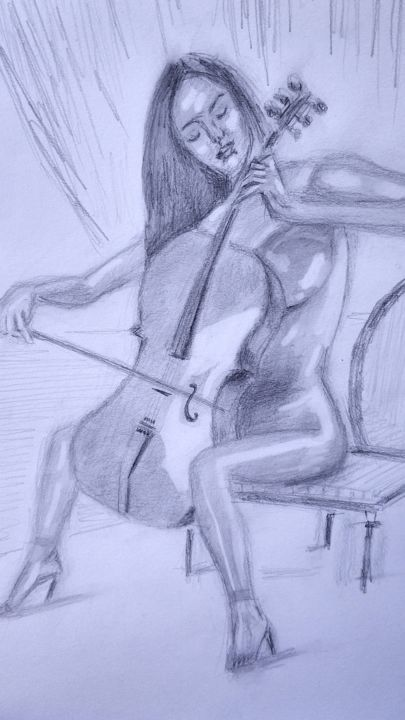 Woman  Playing Violoncello - © 2019 woman, naked, eroticism, music, violoncello, drawing Online Artworks