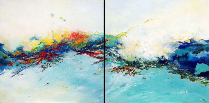 Harmonie - Painting,  100x200x3 cm ©2017 by Théophile DELAINE -                                                                                                                                    Abstract Art, Conceptual Art, Art Deco, Abstract Expressionism, Contemporary painting, Cotton, Canvas, Water, Nature, abstrait, contemporain, nature, paysage abstrait, expressioniste