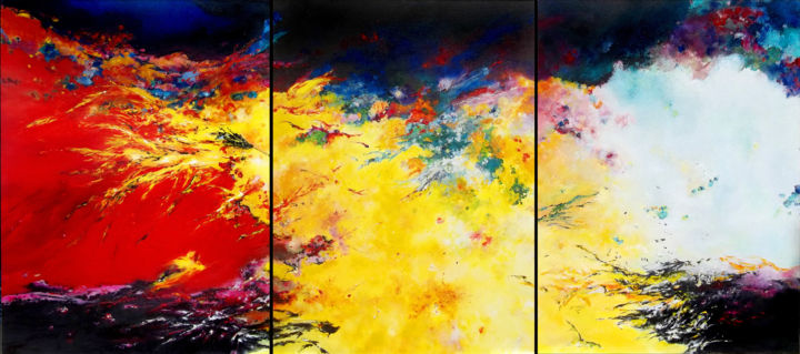 Underground (opus IX) - Painting,  31.5x70.9x1.2 in, ©2018 by Théophile Delaine -                                                                                                                                                                                                                                                                                                                                                                                                                                                                                                                                                                                                                                                                                                                                                                                                                                                                                                                                                                                                          Abstract, abstract-570, Cotton, Canvas, Abstract Art, Outer Space, Colors, Fantasy, Nature, volcan, lave, éruption, magma, abstrait, contemporain, rouge, explosion, volcano, lava, contemporary, red