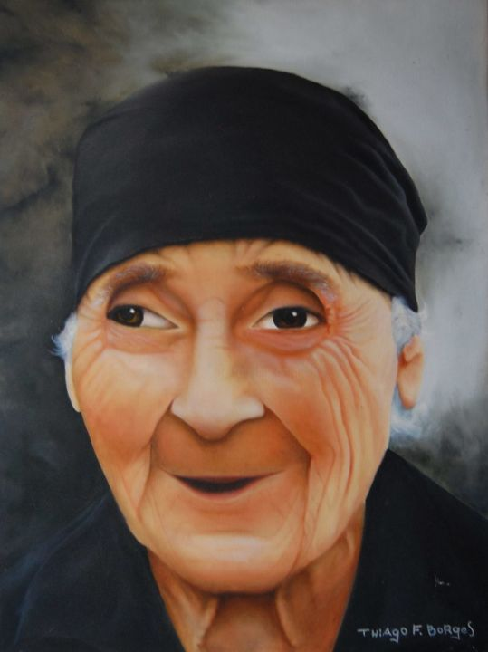 Old Lady Painting By Thiago F Borges Artmajeur