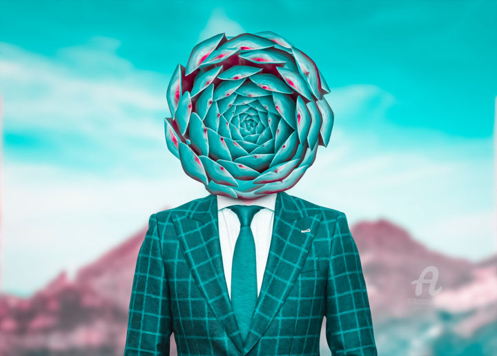 Reality meeting the surreal - Digital Arts, ©2020 by Thiago Pixels -                                                                                                                                                                                                                                                                                                                                                                                                          Surrealism, surrealism-627, Flower, flower, painting, green, frame, blue