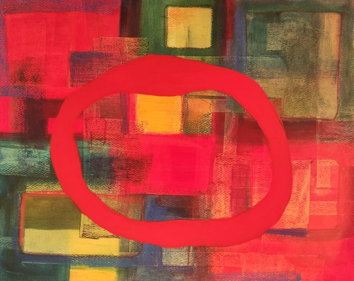 """Painting titled """"Almost red Enso' 1"""" by Thia Path, Original Art, Oil"""