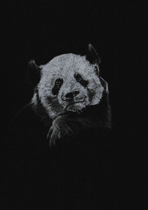 JUST GOING TO SIT HERE & STARE AT YOU - Drawing,  7.1x5.5 in, ©2020 by Thibaut Dapoigny -                                                                                                                                                                                                                                                                                                                                                                                                      Fauvism, fauvism-942, panda, pandas, bear, bears, animal, wildlife