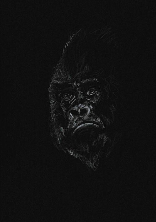 SAY IT ONE MORE TIME - Drawing,  7.1x5.5 in, ©2020 by Thibaut Dapoigny -                                                                                                                                                                                                                                                                                                                                                          Figurative, figurative-594, animal, wildlife, chimpanzee, singe, nature