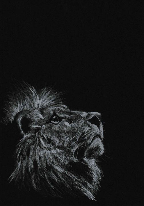 KEEP YOUR CHIN UP - Drawing,  11.7x8.3 in, ©2020 by Thibaut Dapoigny -                                                                                                                                                                                                                                                                  Figurative, figurative-594, animal, lion, wildlife