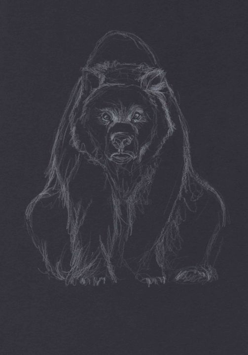 MOOD - Drawing,  11.7x8.3 in, ©2021 by Thibaut Dapoigny -                                                                                                                                                                                                                                                                                                                                                                                                      Figurative, figurative-594, bear, animal, animaux, dessin, drawing, wildlife