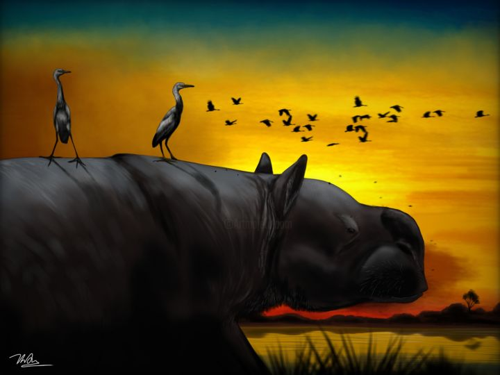 """Digital Arts titled """"Sunset in Ice Age K…"""" by Tong Thien Anh Nguyen, Original Art, Digital Painting"""