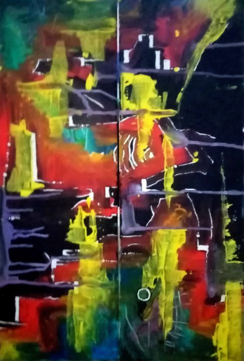Diptyque abstrait - Peinture,  15,8x23,6x0,8 in, ©2013 par Thierry Dourthe -                                                                                                                                                                                                                                                                                                                                                                                                          Abstract, abstract-570, Art abstrait, Couleurs, Science-fiction, Abstraction, Diptyque, Couleurs et coulures