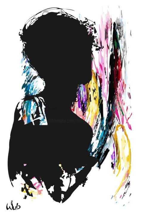 Un chien dans le dos - Digital Arts,  60x40 cm ©2017 by WUB -                                                                                                            Abstract Art, Figurative Art, Aluminum, Abstract Art, Body, Women, Nude, silhouette