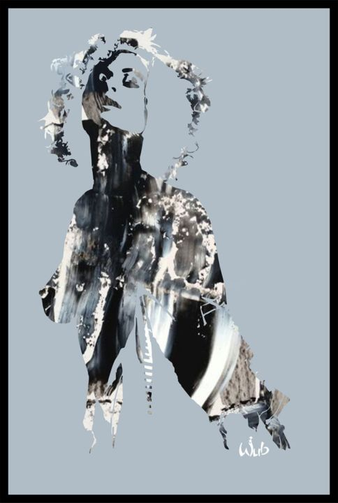Warhold abstrait - Digital Arts,  60x40 cm ©2016 by WUB -                                                                                                                        Abstract Art, Figurative Art, Aluminum, Abstract Art, Women, Nude, People, Portraits, Wharhold, pop art, silhouettes, acrylique