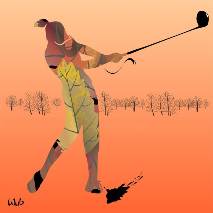 Golfeuse automne - Digital Arts,  40x40 cm ©2017 by WUB -                                                                                                            Abstract Art, Art Deco, Figurative Art, Aluminum, Abstract Art, Women, Sports, Golf, femme, swing, parcours, club, green