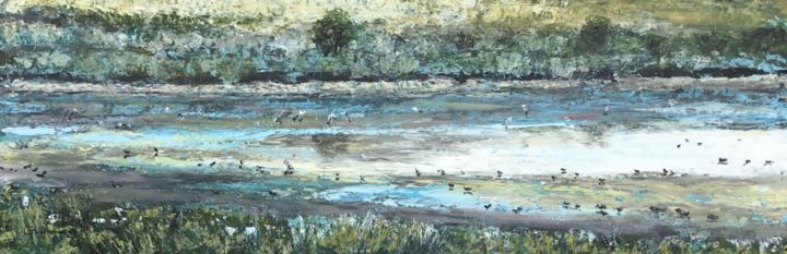 Colonie d'oiseaux - Painting,  7.9x23.6 in ©2019 by Thierry Gautheron -                                                                                                                    Environmental Art, Figurative Art, Expressionism, Impressionism, Abstract Art, Water, Nature, Birds, eau, reflet, couleurs, art, impressionnisme, expressionnisme, abstrait, nature, doucefrance, faune, oiseaux