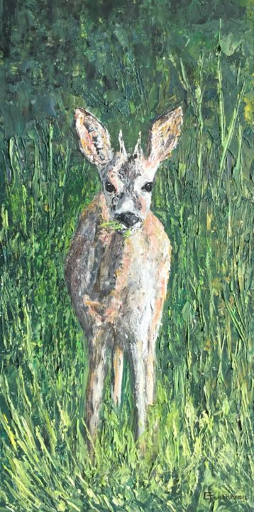 Herbilover - Painting,  50x25 cm ©2019 by Thierry Gautheron -                                                                                                        Environmental Art, Expressionism, Impressionism, Agriculture, Animals, Rural life, Nature, animaux, animal, chevreuil, campagne, nature, vert, herbe, bio, végétation, faune, prix, art populaire, art accessible, made in france, bois, oeuvre, huile, acrylique, relief, compagnon