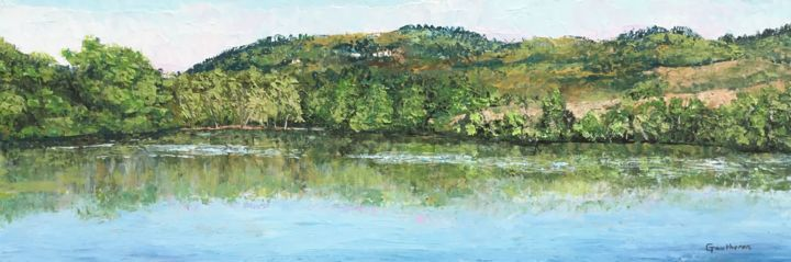 Aisy - Painting,  7.9x23.6 in ©2018 by Thierry Gautheron -                                                                                                                                Environmental Art, Figurative Art, Expressionism, Impressionism, Agriculture, Colors, Water, Rural life, Landscape, impressionnisme, expressionnisme, oeuvre originale, environnement, paysage, prix, art populaire, french artist, peaceful, arthérapie, post impressionnisme, bourgogne, easy, vacances, nature, étang, art accessible, inspirant, eau, reflet