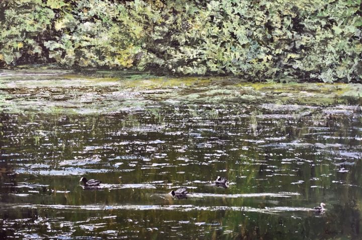 Le contestataire - Painting,  21.3x31.9 in ©2018 by Thierry Gautheron -                                                                                                                    Environmental Art, Figurative Art, Expressionism, Impressionism, Water, Rural life, Nature, Birds, faune, eau, reflet, art accessible, prix, apaisant, verdoyant, oeuvre originale, impressionnisme, post impressionnisme, expressionnisme, post expressionnisme, figuratif, nature, france, french artist, canards, environnement, relief, reflet d'eau