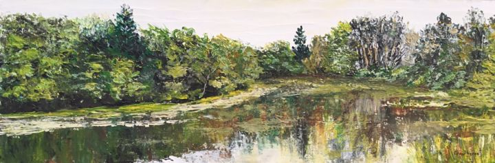 Reflets du Martinet - Painting,  7.9x23.6 in ©2018 by Thierry Gautheron -                                                                                                                    Environmental Art, Figurative Art, Expressionism, Impressionism, Agriculture, Water, Rural life, Nature, oeuvre unique, impressionnisme, relief, french artist, monet, oeuvre originale, salon, cadeau artistique, arthérapie, burgundy, prix, france, environnement, RSE, reflet, eau, lumière, post impressionnisme, galerie, art majeur