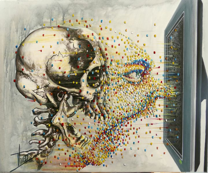 """Painting titled """"depixellisation"""" by Thierry Godefroid, Original Art, Acrylic"""