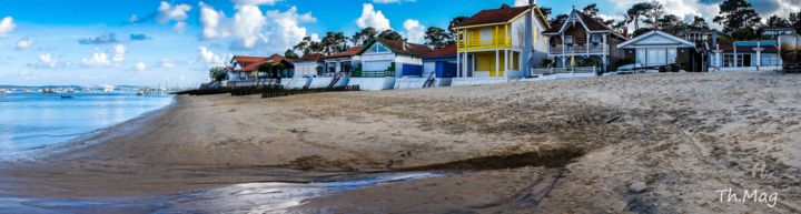Photo-du-village-de-l-herbe. - Photography,  11x35.4 in, ©2014 by Th.Mag -                                                                                                                                                                                                                                                                                                                                                                                          Other, Paper, Canvas, Landscape, Village de l herbe, Cap ferret, Bassin d arcachon, panoramique