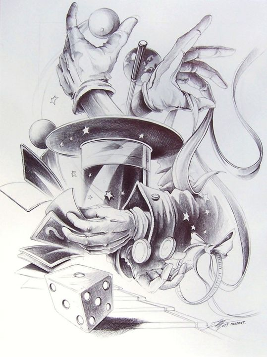 """Drawing titled """"Mains Magiques"""" by Thierry Mordant, Original Art, Ballpoint pen"""