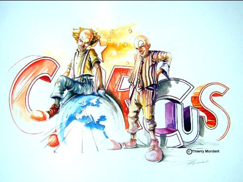"""Drawing titled """"Circus Colors"""" by Thierry Mordant, Original Art, Watercolor"""