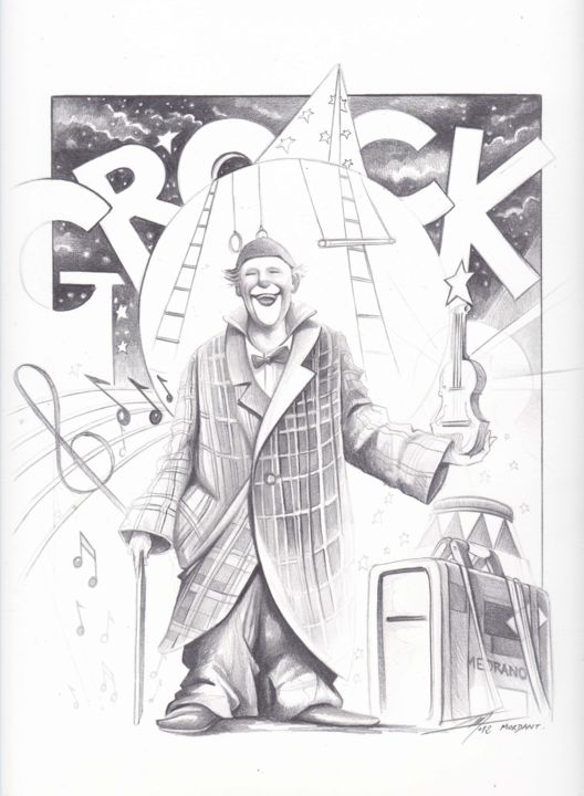 """Drawing titled """"Grock World """"Hommag…"""" by Thierry Mordant, Original Art, Pencil"""