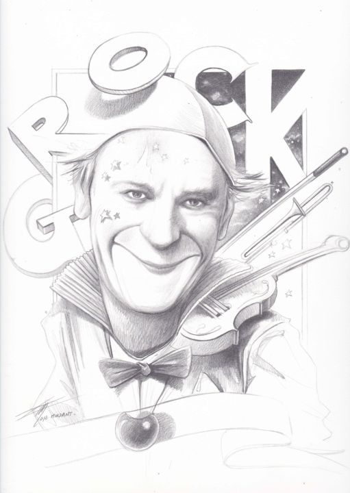"""Drawing titled """"""""GROCK Hommage II P…"""" by Thierry Mordant, Original Art, Pencil"""