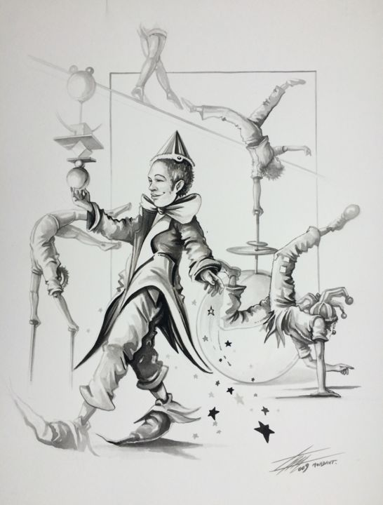 """Drawing titled """"""""Clowns & Equilibri…"""" by Thierry Mordant, Original Art, Ink"""