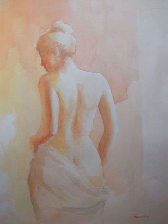 Lumière nue - Painting,  29.1x20.9 in, ©2016 by Thierry Seurre -                                                                                                                                                                                                                                                                                                                                                                                                          Figurative, figurative-594, Portraits, Nude, femme, nue, dos, feminin