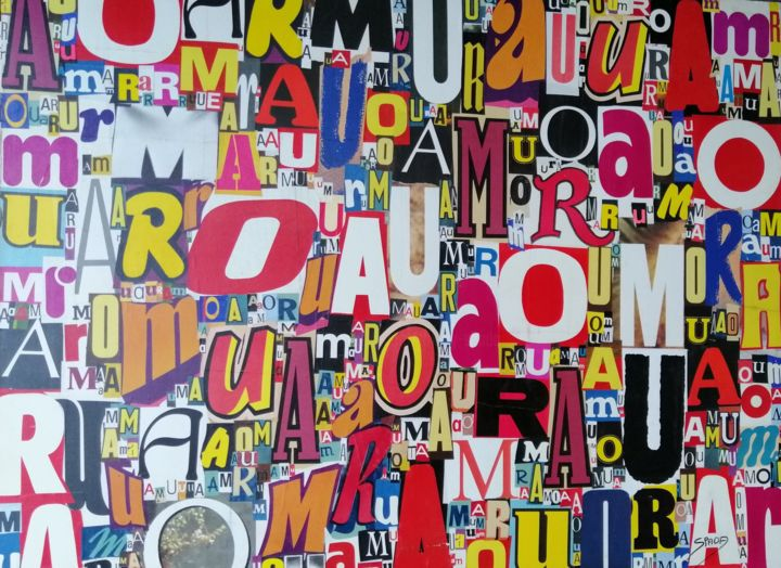AMOUR - Κολάζ,  44,9x57,5x1,2 in, ©2019 από Spada -                                                                                                                                                                                                                                                                                                                                      Amour, Love, French art, Typographie, Collage, Spada art, Colors art
