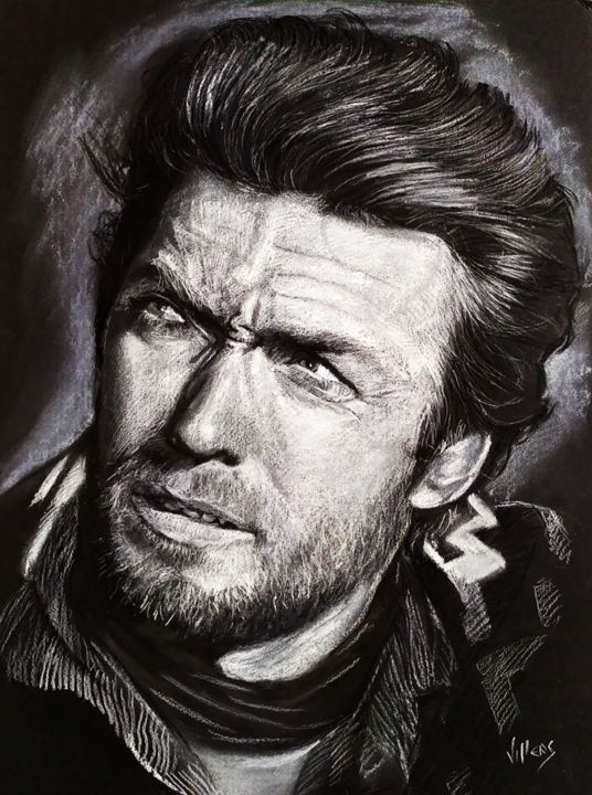 Clint Eastwood - Drawing,  15.8x11.8x0.2 in, ©2019 by Thierry Villers -                                                                                                                                                                                                                                                                                                                                                                                                                                                                                                                                              Figurative, figurative-594, Portraits, Clint, Eastwood, Portrait, Star, Acteur, western, noir, blanc