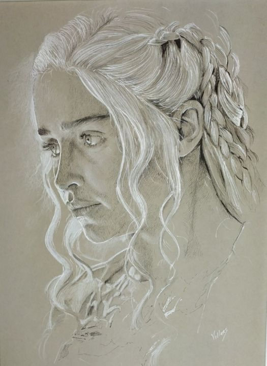 Daenerys (Emilia Clarke) - Drawing,  15.8x11.8 in, ©2020 by Thierry Villers -                                                                                                                                                                                                                                                                                                                                                                                                                                                                                                  Figurative, figurative-594, Portraits, Daenerys, Emilia, Clarke, Game, Thrones, got, portrait