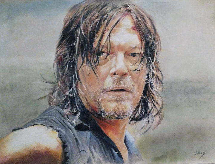 Daryl - Drawing,  11.8x15.8 in, ©2019 by Thierry Villers -                                                                                                                                                                                                                                                                                                                                                                                                                                                                                                                                                                                          Figurative, figurative-594, Portraits, Daryl, Dixon, The walking dead, Serie, Norman, reedus, Norman reedus, portrait, prismacolor