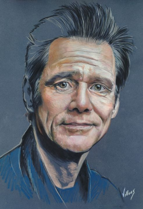 Jim Carrey - Drawing,  15.8x11.8 in, ©2020 by Thierry Villers -                                                                                                                                                                                                                                                                                                                                                                                                                                                                                                  Figurative, figurative-594, Portraits, Portrait, Cinéma, Jim Carrey, Jim, Carrey, Acteur, Comique