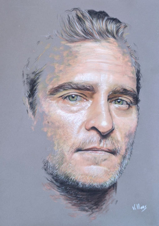 Joaquin Phoenix - Drawing,  15.8x11.8 in, ©2020 by Thierry Villers -                                                                                                                                                                                                                                                                                                                                                                                                                                                                                                                                              Figurative, figurative-594, Portraits, Joker, Joaquin, Phoenix, Joaquin Phoenix, Gladiator, acteur, portrait, pastel
