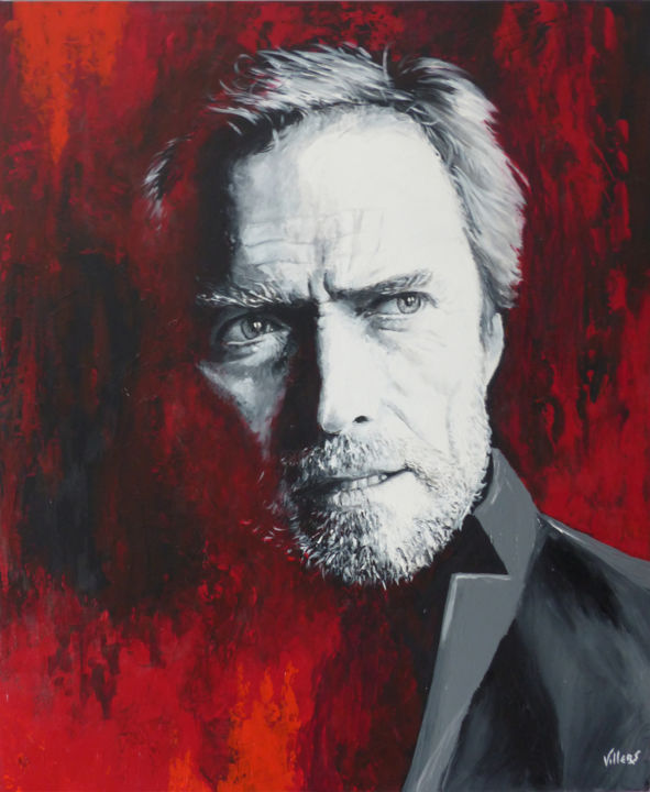 Red Rider - Painting,  31.5x0.8x39.4 in, ©2014 by Thierry Villers -                                                                                                                                                                                                                                                                                                                                                                                                                                                                              Cinema, Eastwood, clint, acteur, américain, western, rouge, gris, noir, blanc