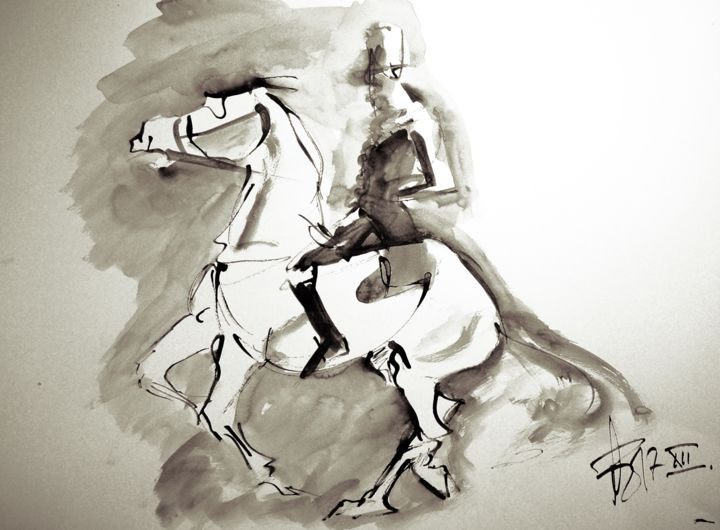 Etude Dressage-18-90 - Drawing,  19.7x25.6 in, ©2018 by THIERRY FAURE -                                                                                                                                                                                                                                                                                                                                                                                                                                                      Classicism, classicism-933, Animals, Horses, Sports, etude, cheval, dressage, cavalier